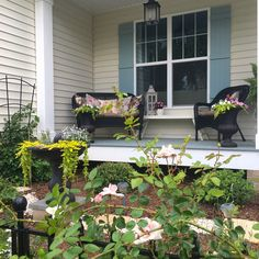 Quince Cottage Farmhouse Porch Garden with New Dawn Rose © Rhiann Wynn-Nolet