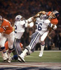 "Linebacker Thomas ""Hollywood"" Henderson blasts Denver QB Norris Weese in Super Bowl XII."