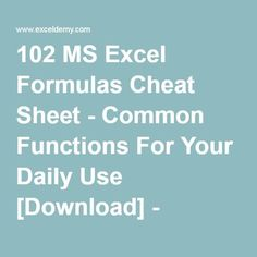 102 MS Excel Formulas Cheat Sheet - Common Functions For Your Daily Use [Download] - ExcelDemy.com