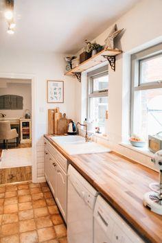 Reclaimed Wood Shelf - Elle's Modern Country Kitchen Makeover