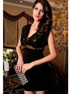 Sequin Tube V-neck Black Dress