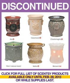 Discontinued Scentsy Items February 2013 … Available 10% Off While Supplies Last  Www.gulfcoastscentsations.scentsy.us order under any OPEN party.  **Want your own party?  Contact Leslie: Gcscentsations@gmail.com
