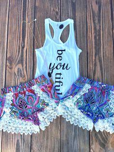 Sun N Fun Crochet Tribal Shorts (Blue)
