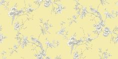 Chinoise Yellow (422804) - Arthouse Wallpapers - A classic, traditional bird of paradise in floral boughs design - available in a range of colours and also in a shadow print. Shown in the grey on soft yellow colourway. Please request sample for true colour match.