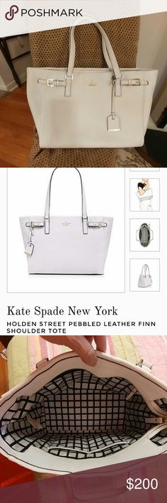 kate spade white leather Holden Street Finn tote Sold out everywhere, this gorgeous, roomy kate spade New York white pebbled leather Holden street Finn shoulder tote is hard to find!  Excellent condition (used 2 or 3 times) clean inside and out!  Definitely large enough for all your stuff and totally authentic.  This is a steal! Kate Spade Bags Totes