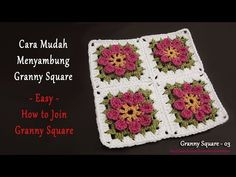 Joining Granny Squares, Crochet Granny, Easy, Youtube, Videos, Flowers, Drinkware, Crochet Granny Squares, Granny Squares