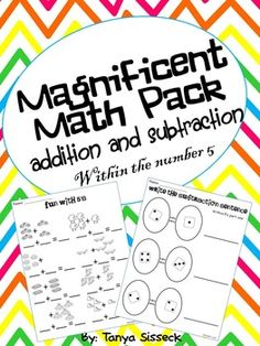 This unit contains everything you need to practice and reinforce addition and subtraction up to the number 5.   Activities included basic addition and subtraction using pictures (8 pages), drawing out the problem (8 pages), word problems (8 pages), using 10 frames (4 pages), adding and subtracting dots on dominoes (8 pages), using dice pictures to write out math number sentences (8 pages), and drills (4 pages). Unit also includes 160 flash cards (numeral and pictorial) for use in math center...
