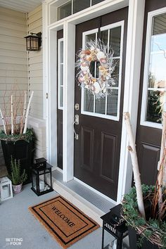 10 Front Porch Decor Ideas To Add Beauty To Your Home - wreath, urn and outdoor furniture ideas.