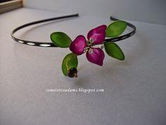 Hair Accessory wire flowers headband with nail polish by semeistvoadams.blogspot.com