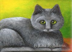 Gray Cat ACEO Giclee painting print mini miniature art Creationarts green eyes #Miniature