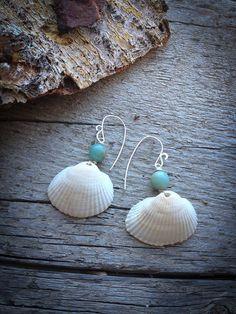 Iris - Simple Sea Shell Earrings with Blue Agate Beads: Seashell Jewelry, Seashell Crafts, Sea Glass Jewelry, Wire Jewelry, Jewelry Crafts, Beaded Jewelry, Jewelery, Jewelry Ideas, Shell Earrings