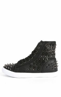 Punk-3a Spike Studded High Top Sneakers BLACK
