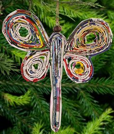 Fund a meal for a veteran and support an orphanage - Recycled Magazine Dragonfly Ornament at The Veterans Site $4