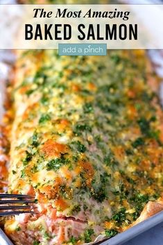 This easy oven Baked Salmon with a Parmesan Herb Crust recipe is absolutely delicious! Perfect for weeknight meals while elegant enough for entertaining. //addapinch.com #bakedsalmon #salmon #easyrecipes #addapinch