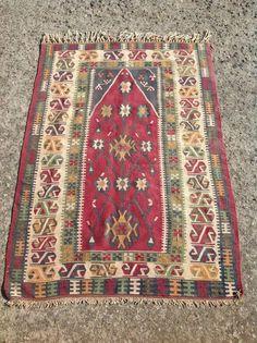 Turkish Kilim Rug Antique Colorful Kilim Rugs by PergamonArt