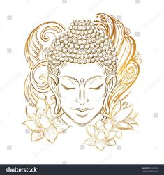 Illustration of Buddha head - elegant vector illustration. The symbol of Buddhism, spirituality and enlightenment. Tattoo, illustration, printing on fabric vector art, clipart and stock vectors. Buddha Drawing, Buddha Painting, Buddha Art, Buddha Head, Ganesha Painting, Buddha Tattoos, Buddha Tattoo Design, Buddha Lotus Tattoo, Colombe Tattoo