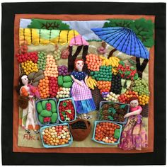 Fruit Market - Lucuma Designs Textiles, Tear, Embroidery Applique, Textile Art, Fiber Art, Folk Art, Quilts, Fruit, Create