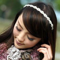 Faux-Pearl Lace Hairband Ivory - One Size