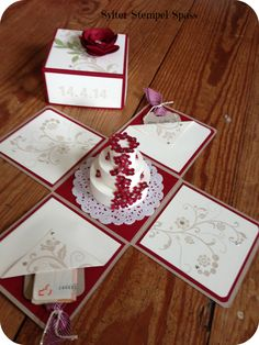 Explosionskarte - Hochzeitsgeschenk (Cake Box)