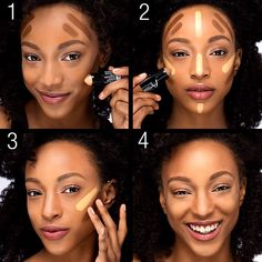 How to contour and highlight your face to perfection using the new #mastercontour duo. 1. Define your face with the contour side. 2. Highlight the highest points of your face. 3. Blend. 4. Slay!
