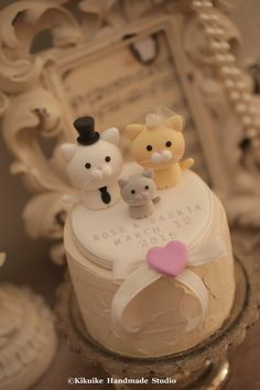 cat and kitty Wedding Cake Topper for the couple by kikuike