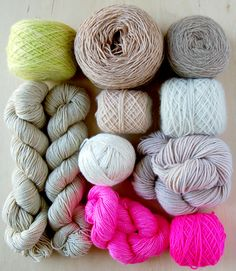 white, sky blue, cloudy grey, storm, pale apple & shocking pink - yarns