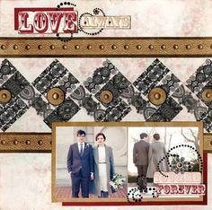 BoBunny: Lovely, Luscious Love & Lace layout! #Bobunny