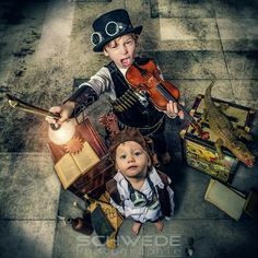 Steampunk for kids! Steampunk Kids, Steampunk Costume, Steampunk Clothing, Steampunk Fashion, Halloween Kostüm, Halloween Costumes, Kids Shots, Shots Ideas, Steampunk Characters