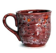 Large Ceramic Mug Cherry Vanilla Red and White #HAS #HAF #HAFshop #handmade $21.00