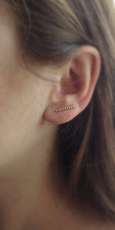 Gold EarPins Gold Ear Cuff Gold Ear Climber by DanusHandmade