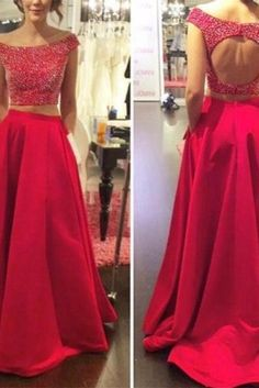 Sexy Beaded Scoop Red Two Piece Long Prom Dresses 2016 Vestidos De Gala Backless Evening Dress