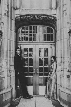 Love the look of the detailed doorways of historical buildings. Glamorous Downtown Chicago Engagement