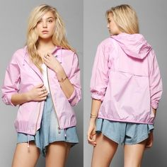 Urban Outfitters K-Way claudette windbreaker Never been worn. Lightweight light pink windbreaker jacket. The jacket itself can be folded into a packable pouch to make for easy transportation. Urban Outfitters Jackets & Coats Utility Jackets