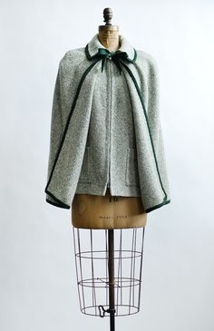 vintage 1960s forest green cape and vest