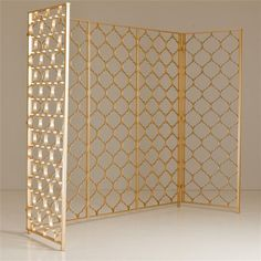 Five Panel Metal Screen Folding Screen Room Divider, Partition Screen, Folding Screens, Room Dividers, Gold Interior, Interior Design, Vintage Shelving, Style Oriental, Vintage Home Accessories