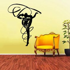 Rhythmic Gymnastics Sportswoman Girl Wall Vinyl Decals Sticker Home Interior Decor for Any Room Housewares Mural Design Graphic Bedroom Wall Decal (5707)