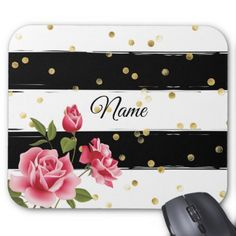 Pink Roses Gold Dots Black & White Stripe Mousepad - rose style gifts diy customize special roses flowers