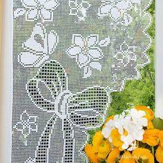 Одноклассники Crochet Curtains, Lace Curtains, Crochet Tablecloth, Crochet Doilies, Filet Crochet, Bargello, Cotton Crochet, Crochet Home, Yarn Needle