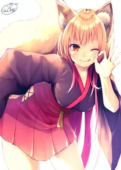 Anime picture 1417x2000 with   original  chita (ketchup)  long hair  single  tall image  blush  looking at viewer  blonde hair  fringe  smile  simple background  white background  animal ears  standing  hair between eyes  signed  japanese clothes  one eye closed  traditional clothes  tail