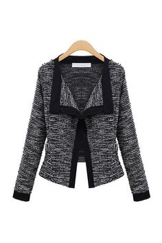 Lapel Marble Knit Color Block Contrast Cardigan Coco Jacket