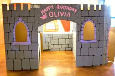 Cardboard Castle for our Princess/Knight Party. Inexpensive and Worth the time you put into it!! The smiles on the kids faces when they saw the castle as they walked in!!! Priceless!