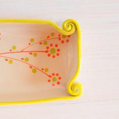 Ceramic tray Hand made tray Colorful tray Clay tray by PotsbyNives
