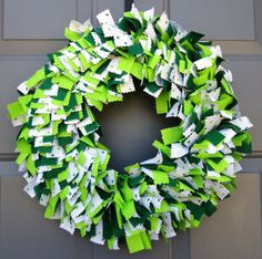 Patrick's Day Fabric Wreath by KristinCraftsALot Rag Wreaths, Deco Mesh Wreaths, Fabric Wreath, How To Make Wreaths, St Patricks Day, Garland, Christmas Wreaths, Seasons, Holiday Decor