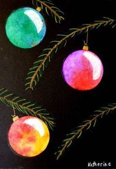 4th grade- liquid watercolor ornaments wet on wet.  black paper with pastels for branches
