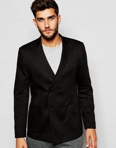 Image 1 ofASOS Skinny Double Breasted Blazer In Jersey