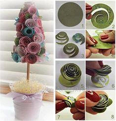 Manualidades: Árbol hecho de papel - http://decoracion2.com/manualidades-arbol-hecho-de-papel/63628/ #DecorarConFlores, #ManualidadesConPapel
