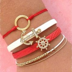 Nautical steering wheel red bracelet from ILoveCuteShoes.com