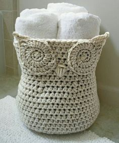 Crocheted owl basket.