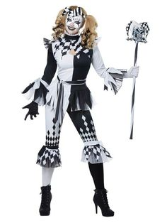 The Deluxe Crazy Jester Adult Costume is the best 2019 Halloween costume for you to get! Everyone will love this Womens costume that you picked up from Wholesale Halloween Costumes! Joker Halloween Makeup, Halloween Party Kostüm, Clown Halloween Costumes, Jester Costume, Joker Clown, Halloween Dress, Jester Outfit, Jester Halloween, Circus Costume