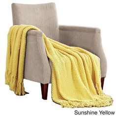 Take a look at this Sunshine Yellow Knitted Tweed Throw Blanket today! Tweed, Pastel Yellow, Mellow Yellow, Joss And Main, Yellow Throw Blanket, Yellow Throws, Yellow Pillows, Yellow Room Decor, Yellow Rooms